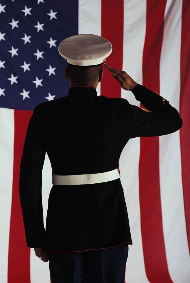 Military Discount Marine Saluting Flag